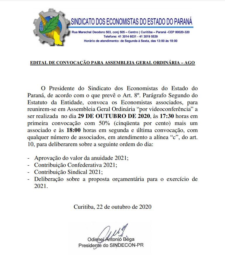 Convocação Assembléia 22 de outubro